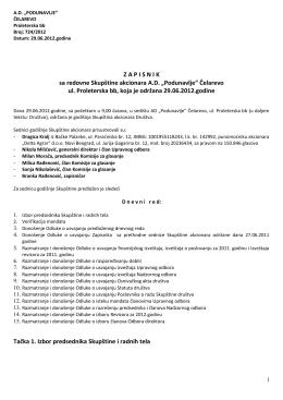 Записник са редовне скупштине акционара АД Подунавље