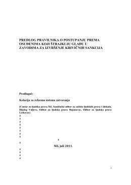 Predlog pravilnika o postupanju prema osuđenima koji štrajkuju