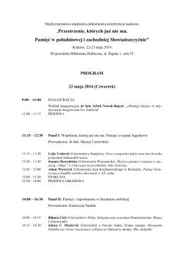 Program konferencji - pdf - Uniwersytet Jagielloński