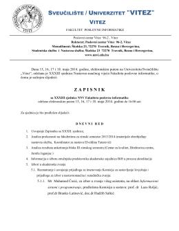"""Z A P I S N I K SVEUČILIŠTE / UNIVERZITET """"VITEZ"""" VITEZ"""