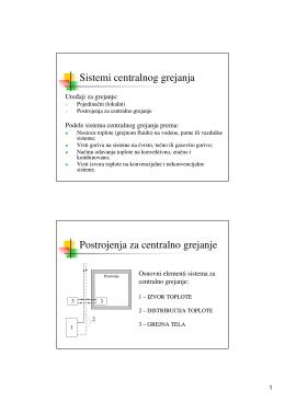 Sistemi centralnog grejanja Postrojenja za centralno grejanje