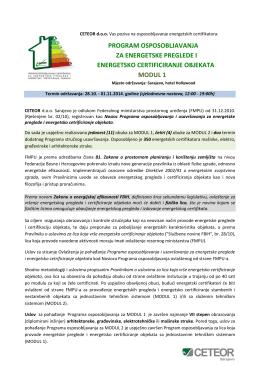 program osposobljavanja za energetske preglede i energetsko