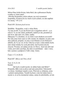 10.4.2011 5. neděle postní Judica Milost Pána Jeţíše Krista, láska