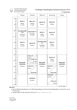 Stundenplan 2. Semester Bachelor - Fachschaft Elektrotechnik und