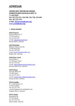 adresar organizacija - Crveni krst Republike Srpske