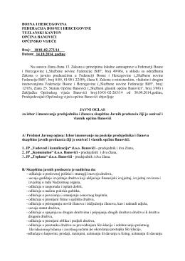 Javni oglas - Općina Banovići