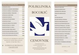 """CENOVKIK ZA PACIJENTE - Poliklinika """"Bocokić"""""""