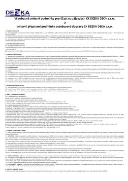 Všeobecné smluvní podmínky pro účast na zájezdech CK DEZKA