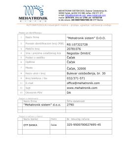 ID Firme - Mehatronik Sistem