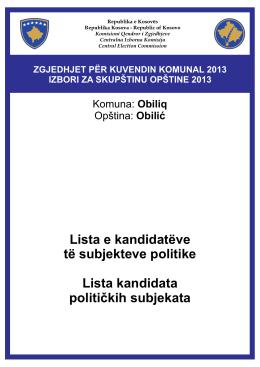 Lista e kandidatëve të subjekteve politike Lista kandidata političkih