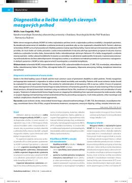 Diagnostika a liečba náhlych cievnych mozgových príhod