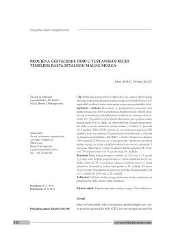 182 procjena gestacijske dobi u tuzlanskoj regiji