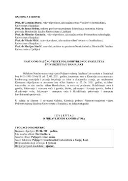 Извјештај Комисије о пријављеним кандидатима за избор у