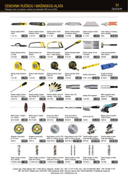 Cenovnik alata za alu i PVC