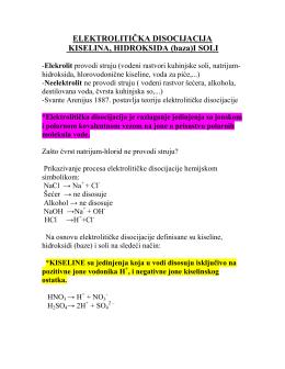 elektrolitička disocijacija kiselina, hidroksida (baza)