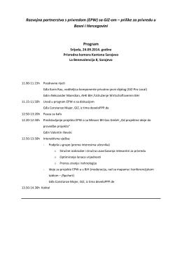 (EPW) sa GIZ-om – prilike za privredu u Bosni i Hercegovini Program