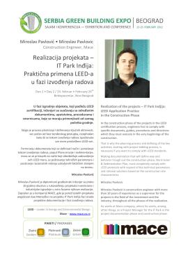 Realizacija projekata – IT Park Inđija: Praktična primena LEED