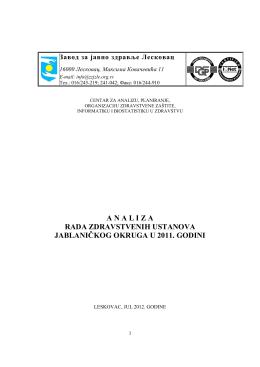 Analiza rada zdravstvenih ustanova 2011