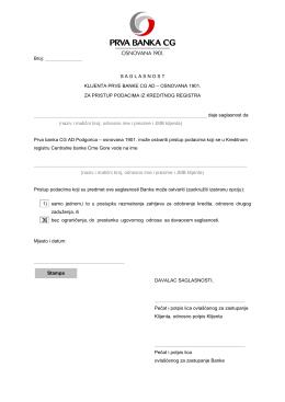 Saglasnost klijenta za pristup podacima RKB