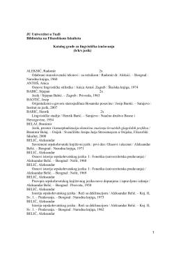 Katalog_lingvisticka.. - Filozofski fakultet u Tuzli