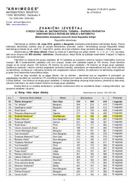 Званични извештај са ТУРНИРА заОШ-2014