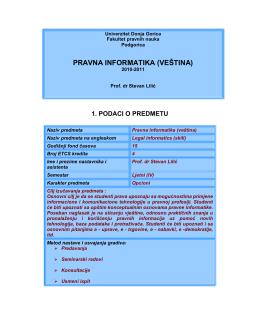 10-2 pravna informatika – silabus sa ispitnim pitanjima
