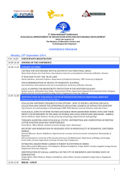 CONFERENCE PROGRAM Monday, 29th September 2014