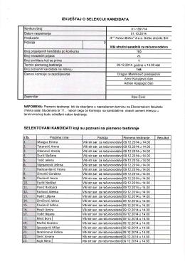 Preuzmite – Izvještaj o selekciji kandidata