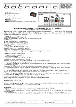 H00 oor Prog. Panelmetar-procesor za ulaz 4-20mA tip:VCR301