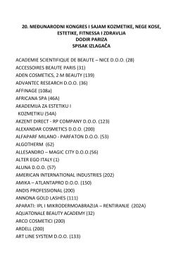 Spisak izlagača Sajma kozmetike (PDF)