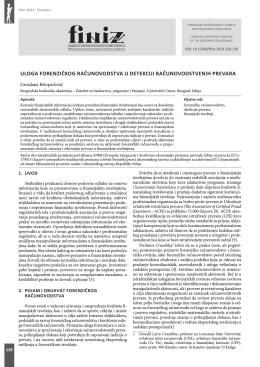 uloga forenzičkog računovodstva u detekciji računovodstvenih prevara