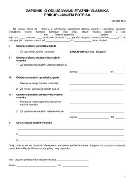Zapisnik o odlučivanju etažnih vlasnika