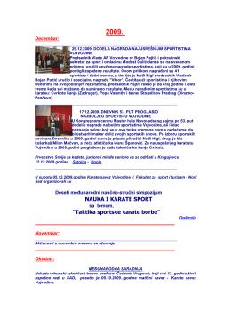 """NAUKA I KARATE SPORT """"Taktika sportske karate borbe"""""""