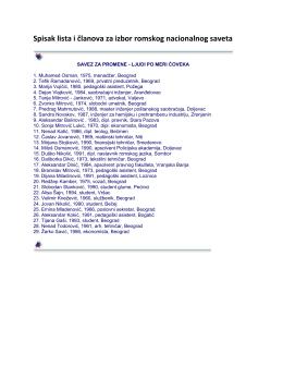 Spisak lista i članova za izbor romskog nacionalnog saveta