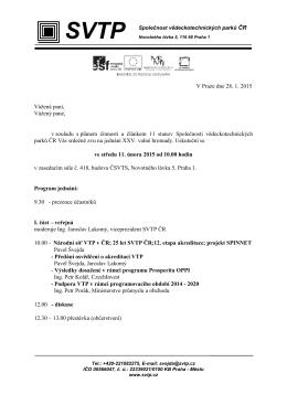 V Praze dne 28. 1. 2015 Vážená paní, Vážený pane, v souladu s