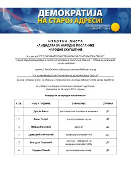 """Lista kandidata """"Sa Demokratskom strankom za demokratsku Srbiju"""""""