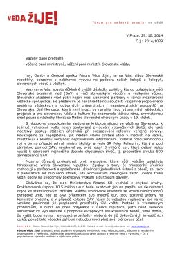 V Praze, 29. 10. 2014 Č.j.: 2014/1029 Vážený pane