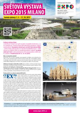 EXPO 2015 MILANO SVĚTOVÁ VÝSTAVA