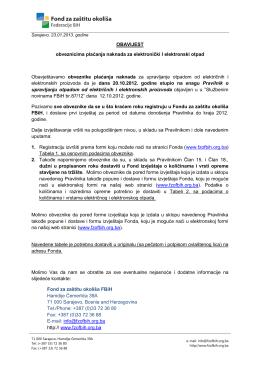 OBAVIJEST za obveznike - fond za zaštitu okoliša fbih