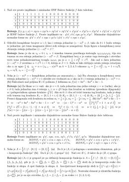 1. Naci sve proste implikante i minimalne DNF Bulove funkcije f date