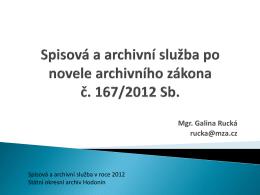 Spisová a archivní služba v roce 2012