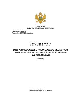 Izvještaj o reviziji Godišnjeg finansijskog izvještaja Ministarstva rada