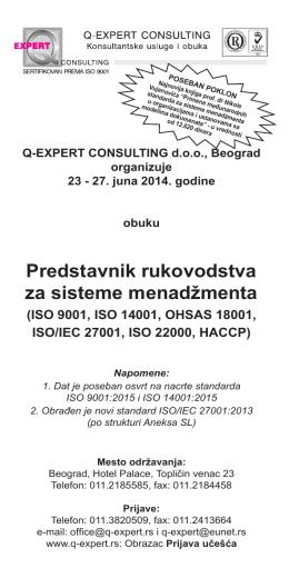 Predstavnik rukovodstva za sisteme menadžmenta - Q