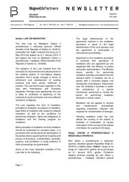 Serbia: LAW ON MEDIATION The new Law on Mediation