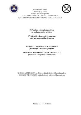 Knjiga abstrakta MNM2012 - Fakultet za metalurgiju i materijale