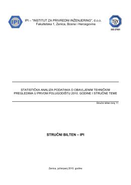statistička analiza podataka o obavljenim tehničkim pregledima