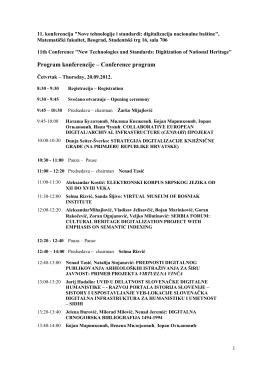 Program konferencije – Conference program