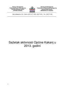 Sažetak aktivnosti Općine Kakanj u 2013. godini