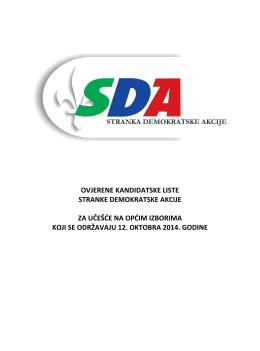 liste kandidata sda za opće izbore 2014. godine