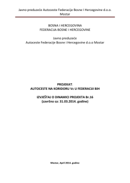 Izvještaj o dinamici projekta br. 16